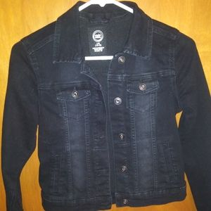 Back button up crop denim jacket